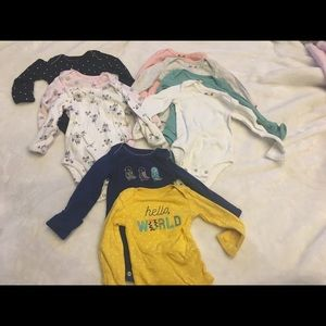 Other - 9 assorted long sleeved baby girl NB onesies
